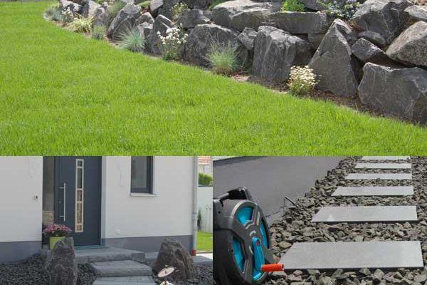 Steingarten und Rollrasen